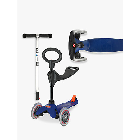 Buy Micro Scooters Mini Micro T-Bar Scooter with Seat and O-Bar Handle, Blue Online at johnlewis.com