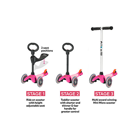 Buy Micro Scooters Mini Micro T-bar Scooter with Seat and O-Bar Handle, Pink Online at johnlewis.com