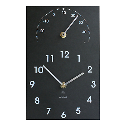 ashortwalk Eco Clock & Thermometer, 16 x 26cm