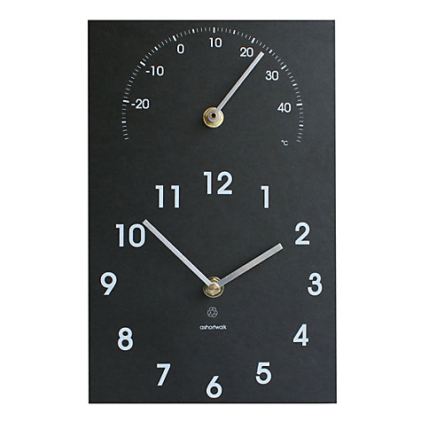 Buy ashortwalk Eco Recyled Coffee Cups Clock & Thermometer, 16 x 26cm Online at johnlewis.com