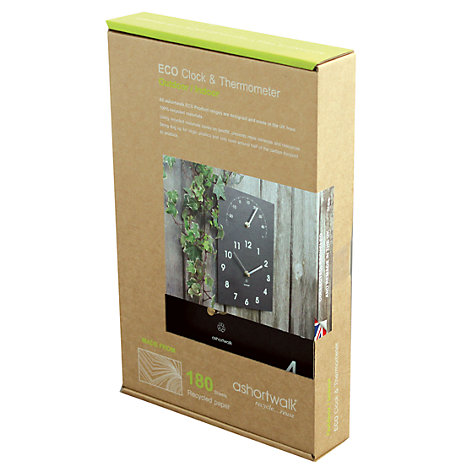 Buy ashortwalk Eco Clock & Thermometer, 16 x 26cm Online at johnlewis.com