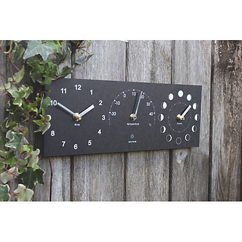 Buy ashortwalk Eco Moon/Temp/Time Clock, 35 x 15cm Online at johnlewis.com