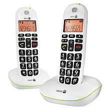 Buy Doro PhoneEasy 100W Twin DECT Cordless Phone, White Online at johnlewis.com