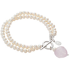 Buy Claudia Bradby Button Pearls Rose Quartz Heart Bracelet Online at johnlewis.com