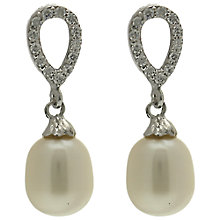 Buy Lido Pearls Oval Cubic Zirconia and Freshwater Pearl Drop Earrings, Silver Online at johnlewis.com