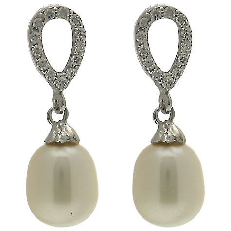 Buy Lido Pearls Oval Cubic Zirconia and Freshwater Pearl Drop Earrings Online at johnlewis.com