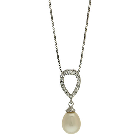 Buy Lido Oval Cubic Zirconia Pearl Drop Pendant Necklace Online at johnlewis.com