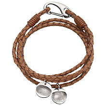 Buy Under The Rose Personalised Men's Leather Bracelet, 2 Charms Online at johnlewis.com