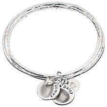 Buy Under the Rose Personalised Fingerprint Bangle, 2 Charms, Silver Online at johnlewis.com