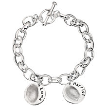 Buy Under The Rose Personalised Women's Fingerprint Charm Bracelet, 2 Charms Online at johnlewis.com