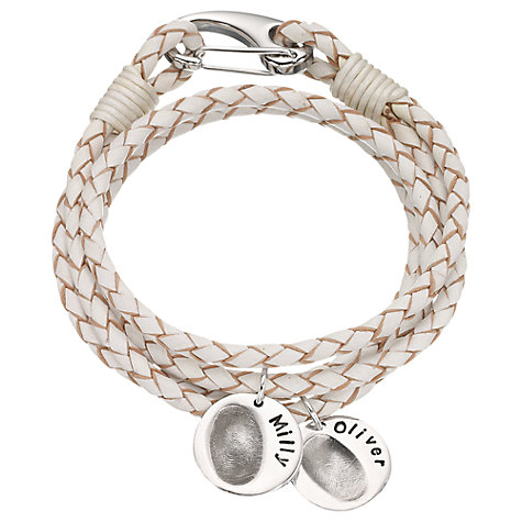 Buy Button and Bean Personalised Women's Leather Fingerprint Bracelet Online at johnlewis.com