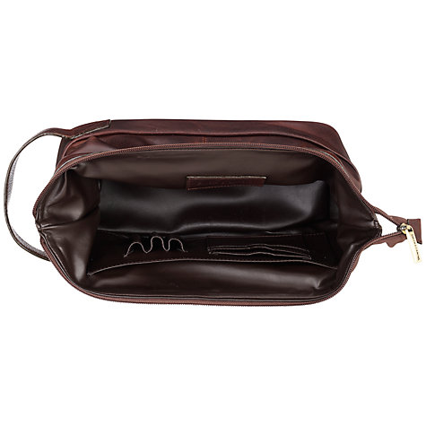 Buy Smith & Canova Leather Wash Bag, Brown Online at johnlewis.com