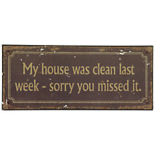Buy John Lewis Clean House Plaque, 12.8 x 30.5cm Online at johnlewis.com