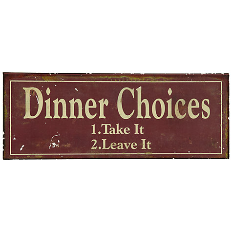 Buy John Lewis Dinner Choices Plaque, 15.2 x 39.7cm Online at johnlewis.com