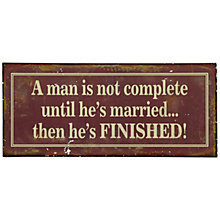 Buy John Lewis Married Finished Plaque, 12.8 x 30.5cm Online at johnlewis.com