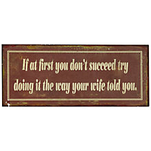 Buy John Lewis Wife's Right Plaque, 12.8 x 30.5cm Online at johnlewis.com