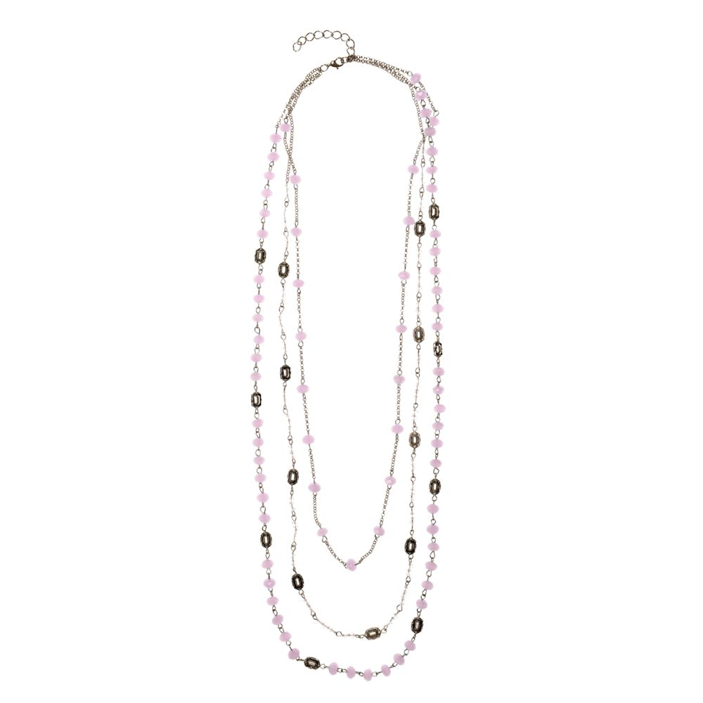 One Multi Layered Faceted Bead Necklace, Pink