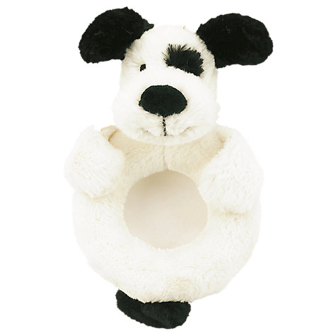 Buy Jellycat Bashful Puppy Rattle, Black/Cream Online at johnlewis.com