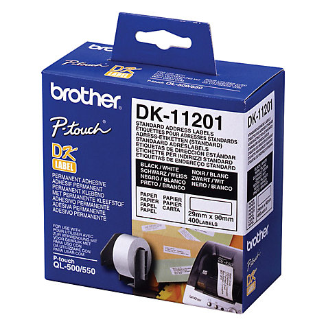 Buy Brother DK11201 White Standard Address Labels, 28 x 90mm, 400 Labels Online at johnlewis.com