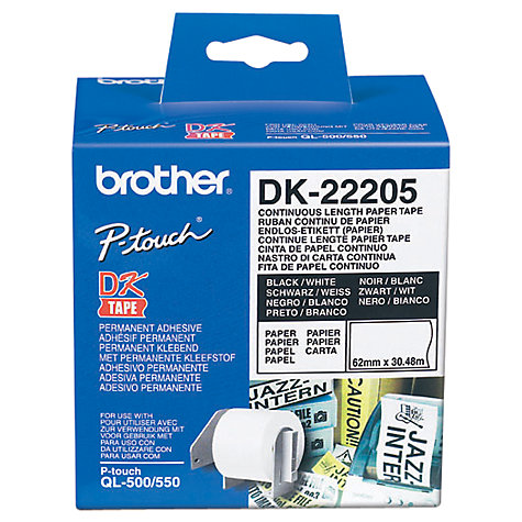 Buy Brother DK-22205 Thermal Paper, 30.48m x 62mm Continuous Roll Online at johnlewis.com
