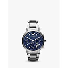 Buy Emporio Armani AR2448 Men's Date Chronograph Bracelet Strap Watch, Silver/Blue Online at johnlewis.com