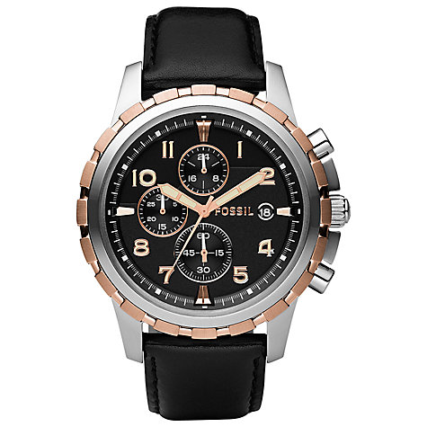 Buy Fossil FS4545 Men's Dean Chronograph Stainless Steel Leather Strap Watch, Black Online at johnlewis.com