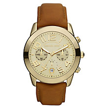 Buy Michael Kors MK2251 Women's Chronograph Jetset Brown Leather Strap Watch Online at johnlewis.com