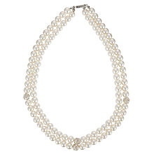 Buy John Lewis Double Faux Pearl Cluster Necklace, White Online at johnlewis.com