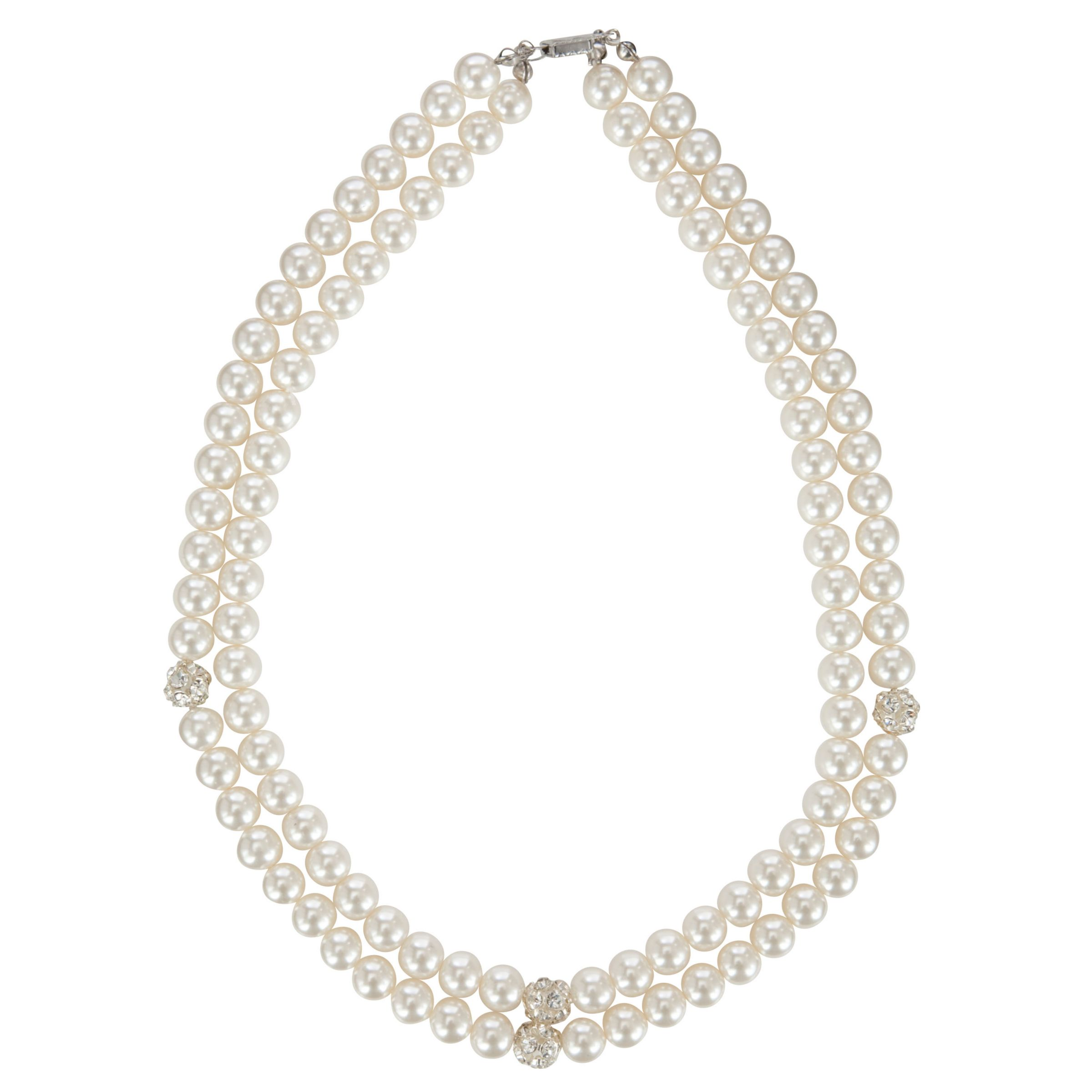 John Lewis Double Faux Pearl Cluster Necklace, White