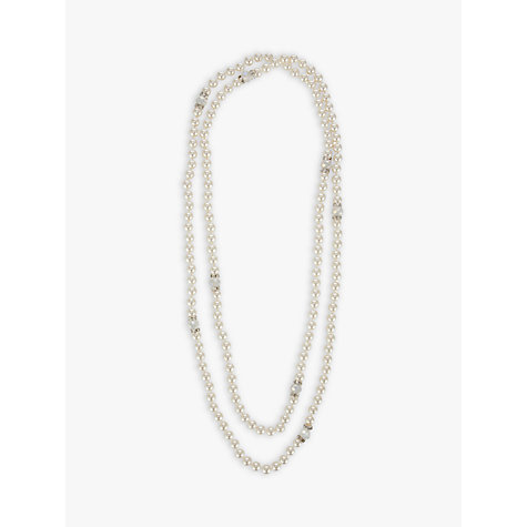 Buy John Lewis Long Pearl and Crystal Row Necklace, Silver Online at johnlewis.com