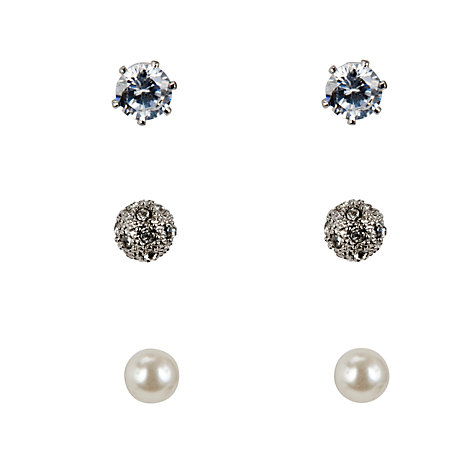 Buy John Lewis Silver Plated and Faux Pearl Stud Earrings, Pack of 3 Online at johnlewis.com