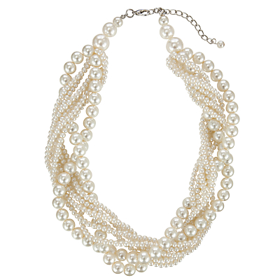 Vintage Style Jewelry, Retro Jewelry John Lewis Twist Faux Pearl Chunky Statement Necklace White £22.00 AT vintagedancer.com