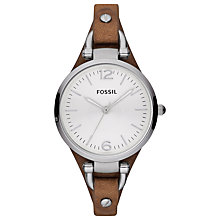 Buy Fossil ES3060 Women's Georgia Leather Cuff Watch, Brown Online at johnlewis.com