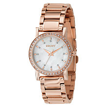 Buy DKNY NY8121 Glitz Women's Round Dial Stone Bezel Bracelet Watch, Rose Gold Online at johnlewis.com