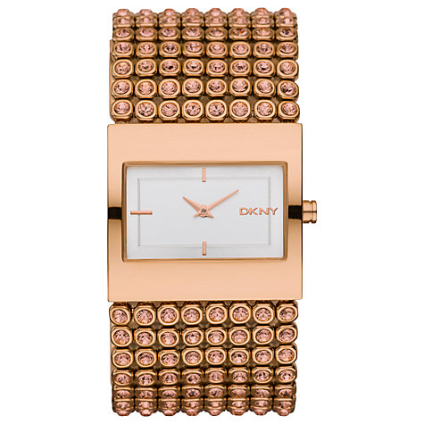Buy DKNY NY8446 Rosebold Women's Stone Set Mesh Bracelet Watch, Rose Gold Online at johnlewis.com