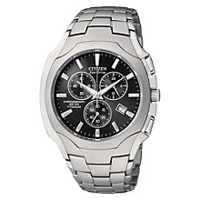Buy Citizen AT0890-56E Men's ECO-DRIVE Titanium Chronograph Strap Watch, Silver Online at johnlewis.com