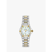 Buy Citizen EW1534-57D Women's Eco-Drive Mother of Pearl Two Tone Bracelet Strap Watch, Silver/Gold Online at johnlewis.com
