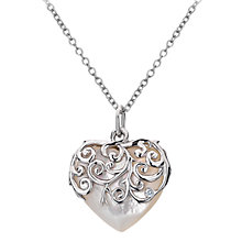 Buy Hot Diamonds Mother of Pearl Heart Pendant, Silver Online at johnlewis.com