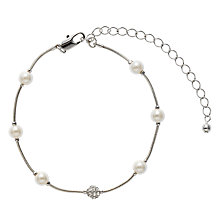 Buy John Lewis Silver Chain Pearl and Diamanté Dot Bracelet, Silver Online at johnlewis.com