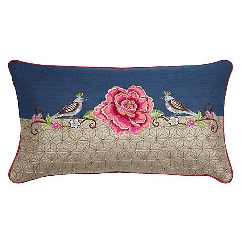 Buy PiP Studio Birds Single Flower Cushion, Blue Online at johnlewis.com