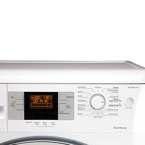 Buy Beko WM8063CW Washing Machine, 8kg load, A+++ Energy Rating, 1600rpm Spin, White Online at johnlewis.com