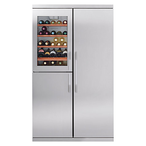 Buy John Lewis Side-by-Side JLWFF1104 Slim Depth Wine Cooler Fridge Freezer, Stainless Steel Online at johnlewis.com