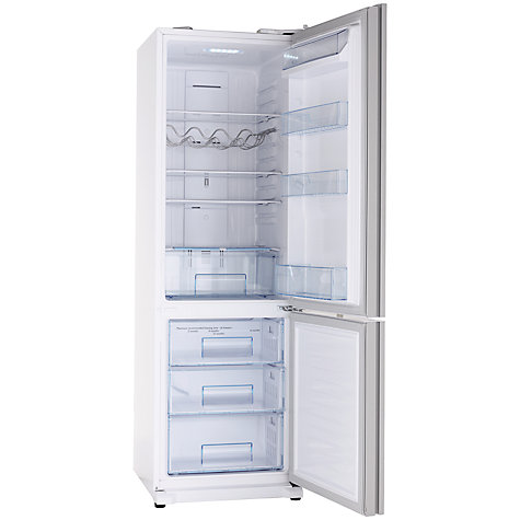 Buy John Lewis JLFSWH2001 Fridge Freezer, White Glass Online at johnlewis.com