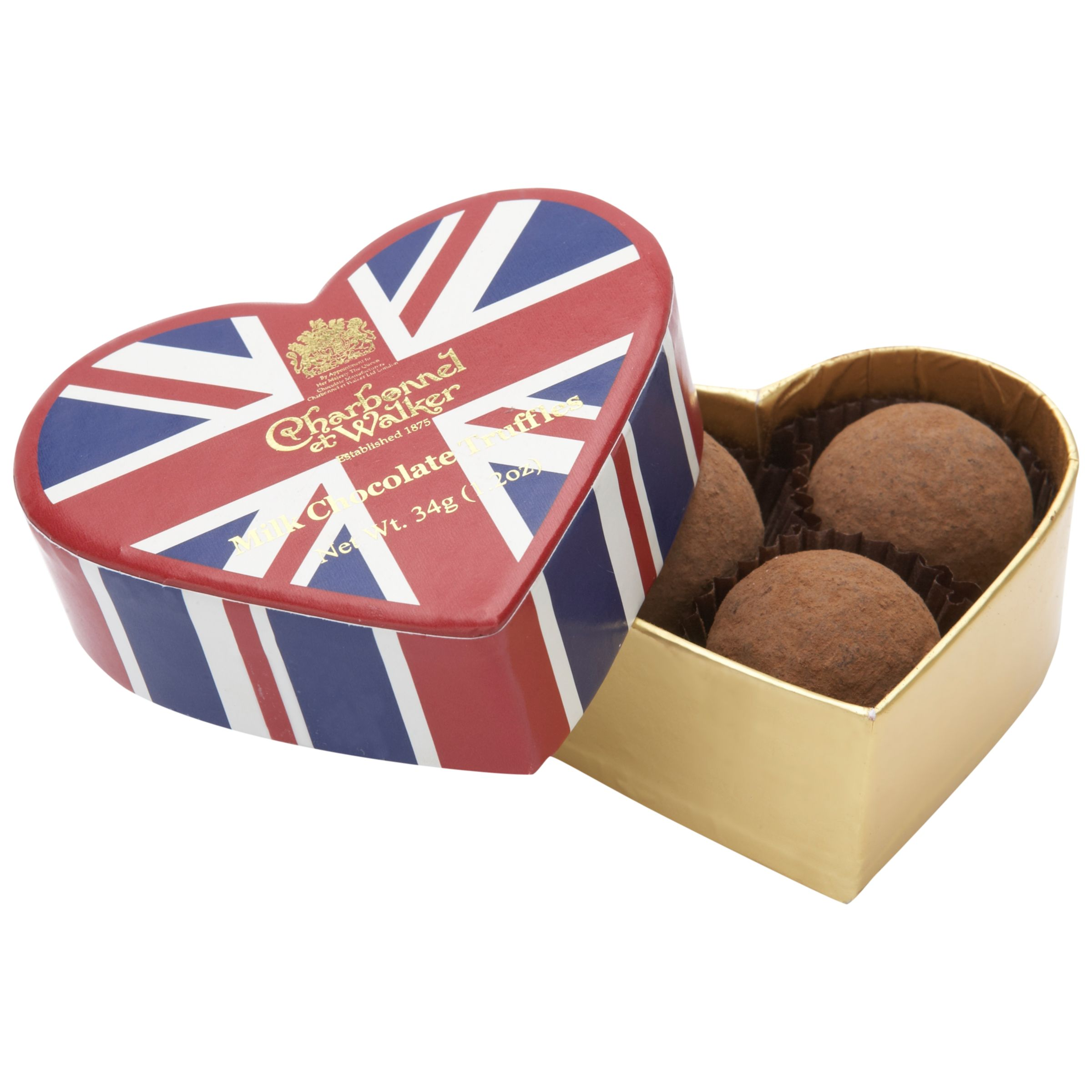 Charbonnel Et Walker Mini Truffles In A Union Jack Heart Box, 34g