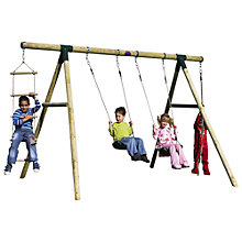Buy Plum Gibbon Wooden Double Swing and Rope Set Online at johnlewis.com