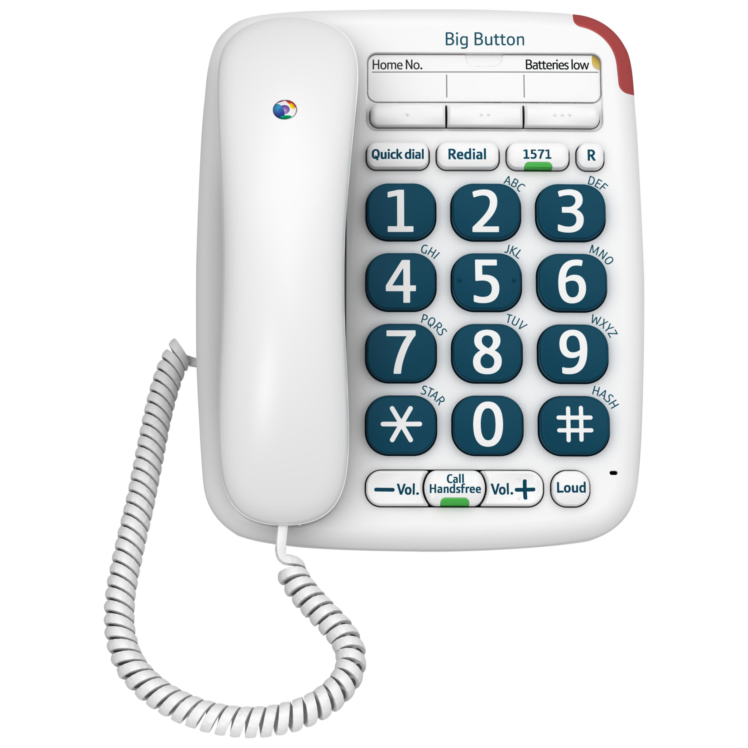 BT BT Big Button 200 Corded Telephone, White
