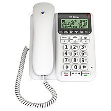 Buy BT Décor 2500 Corded Telephone with Answering Machine, White Online at johnlewis.com