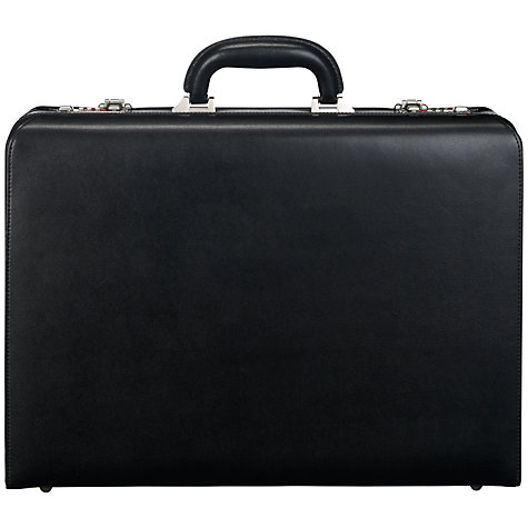 Buy John Lewis Chicago Attache Leather Briefcase, Black Online at johnlewis.com