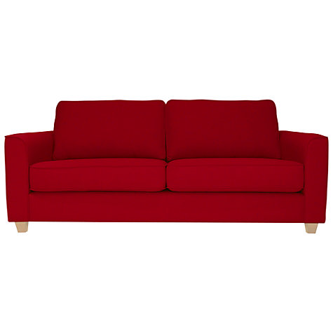 Buy John Lewis Portia Medium Sofa Bed with Light Legs, Fraser Crimson Red Online at johnlewis.com