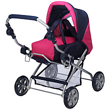 Buy John Lewis Dolls' Combi Pram, Pink Online at johnlewis.com